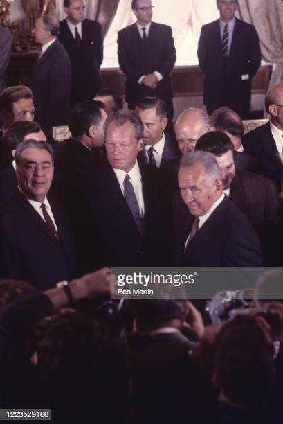 Leonid Brezhnev, Willy Brandt, and Aleksei Kosygin at the signing of the Treaty of Moscow, August 12, 1970.
