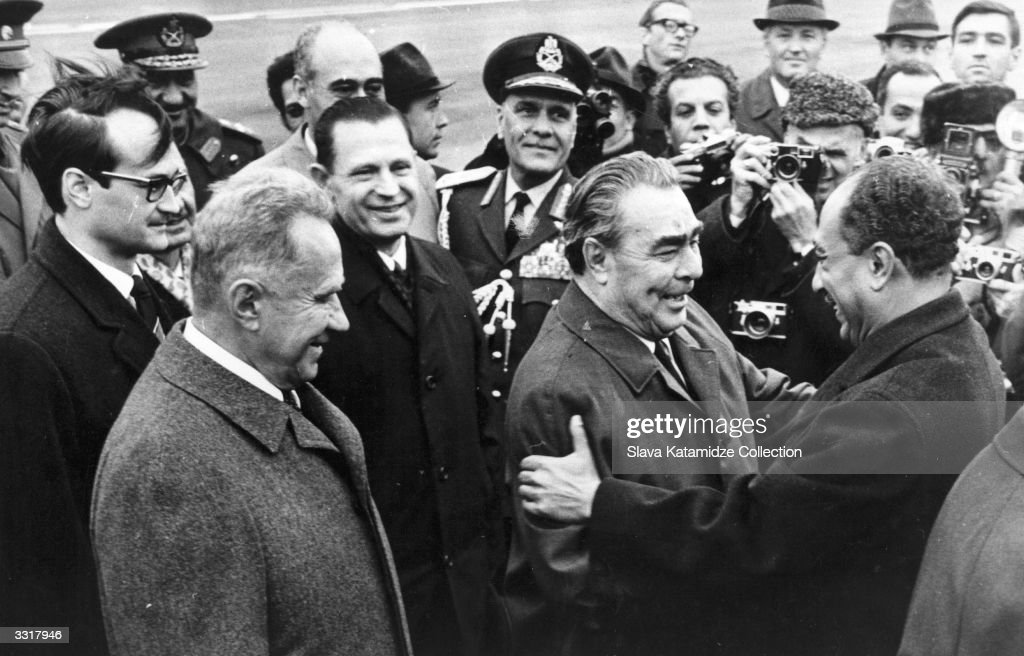 Leonid Ilyich Brezhnev (1906 - 1982) general secretary of the Soviet Communist Party, greets the new Egyptian president Anwar al-Sadat (1918 - 1981) who is in Moscow to ask for political support and military hardware for use in Egypt's imminent war with Israel, 1971. The Soviet Premier Alexei Kosygin (1904 - 1980) (second from left) is responsible for this aid program.
