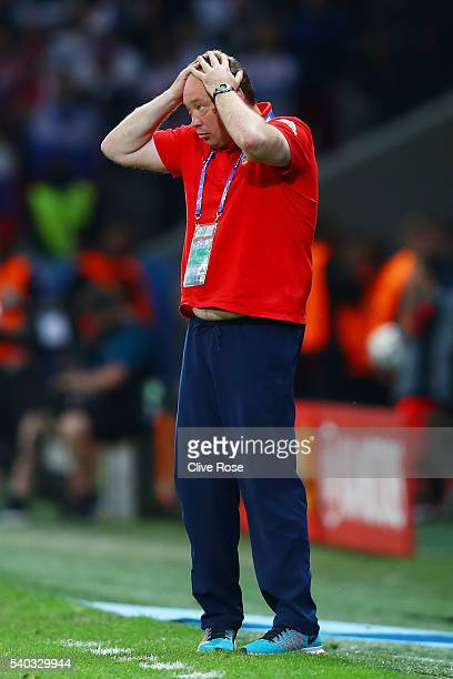 Leonid Slutski head coach of Russia reacts during the UEFA EURO 2016 Group B match between Russia and Slovakia at Stade PierreMauroy on June 15 2016...