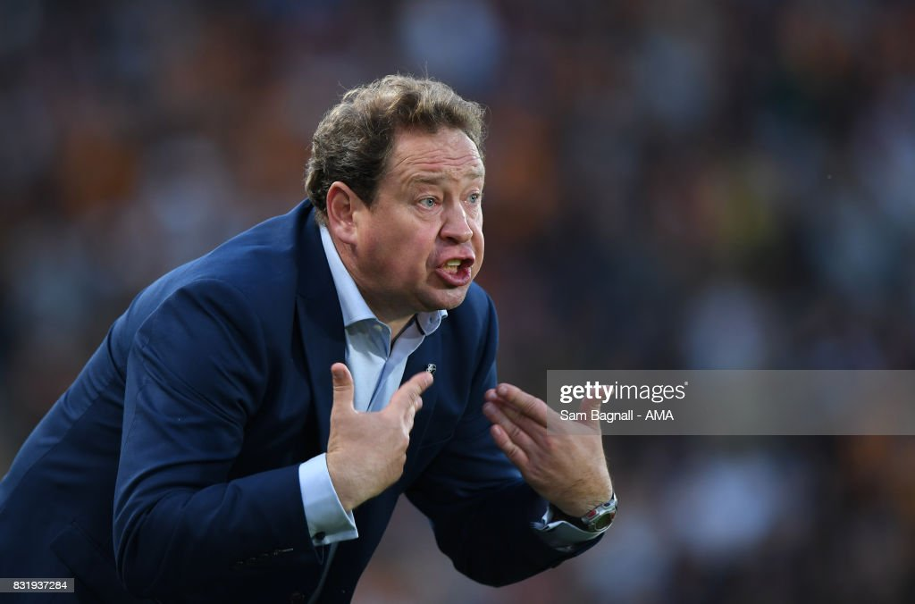 Leonid Slutsky head coach / manager of Hull City during the Sky Bet Championship match between Hull City and Wolverhampton at KCOM Stadium on August 15, 2017 in Hull, England.