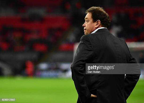 Leonid Slutsky head coach of CSKA Moscow looks on during the warm up prior to kick off during the UEFA Champions League Group E match between...