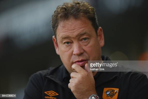 Leonid Slutsky manager of Hull City looks on before the Sky Bet Championship match between Derby County and Hull City at iPro Stadium on September 8...
