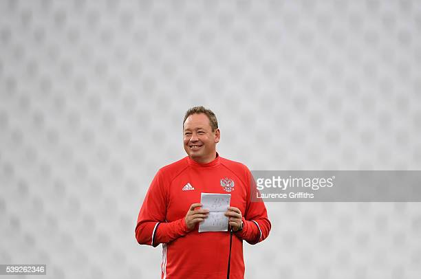 Leonid Slutsky of Russia looks on during a Russia training session ahead of the EURO 2016 Group B match against England at Stade Velodrome on June 10...