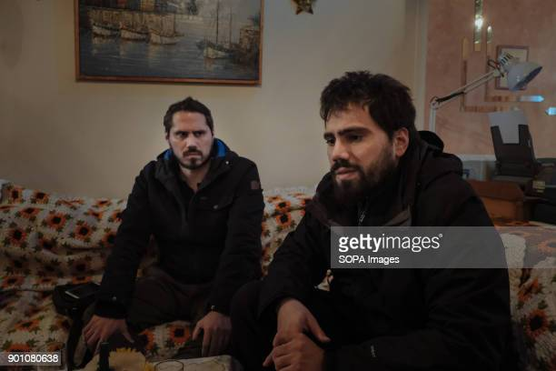 Leonidas and Ilias Papadopoulos active members of Den Prlirono movement during a visit to one of the family they help The movement since 2013 fight...