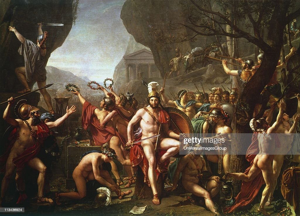 Leonidas at Thermopylae' (1814). Leonidas (dc480 BC) king of Sparta from 491 BC. Held pass at Thermopylae for 3 days with 300 Spartans and 700 Thespians against the Persian army. Leonidas and his followers all died. Jacques Louis David (1748-1825) French ... : News Photo