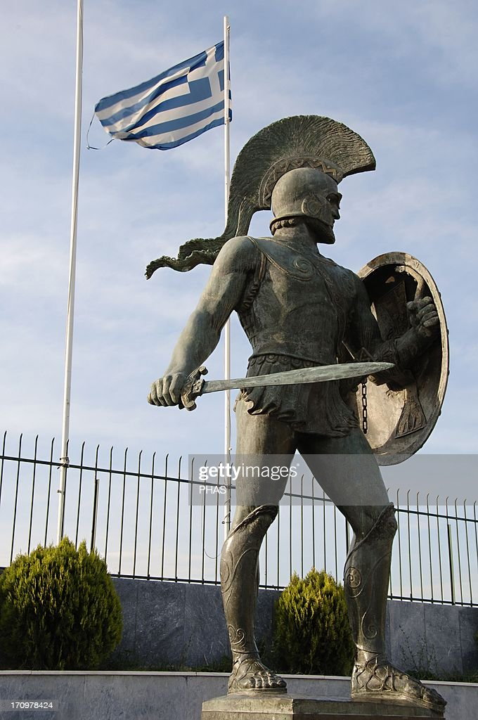 Leonidas I (died 480 BC). King of Sparta. Monument in Sparta. : News Photo