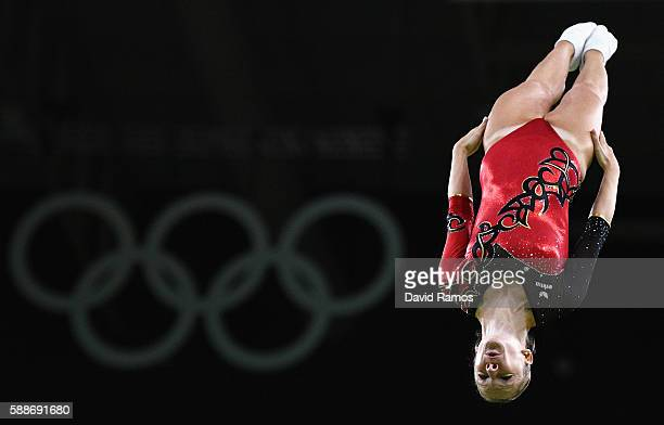 Leonie Adam of Germany competes during the Trampoline Gymnastics Women's Qualification on Day 7 of the Rio 2016 Olympic Games at the Rio Olympic...