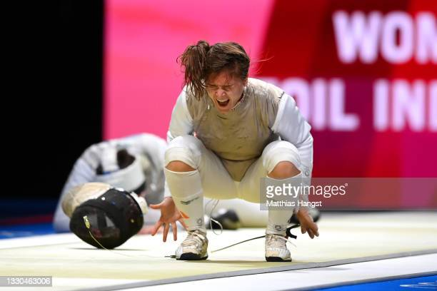 Leonie Ebert of Team Germany celebrates after defeating Jacqueline Dubrovich of Team United States in Women's Individual Foil first round on day two...