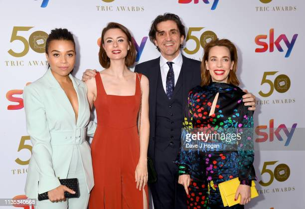 Leonie Elliott Jennifer Kirby and Laura Main attend the 2019 'TRIC Awards' held at The Grosvenor House Hotel on March 12 2019 in London England