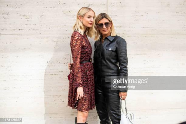Leonie Hanne and Aylin Koenig seen outside Longchamp during New York Fashion Week September 2019 on September 07 2019 in New York City