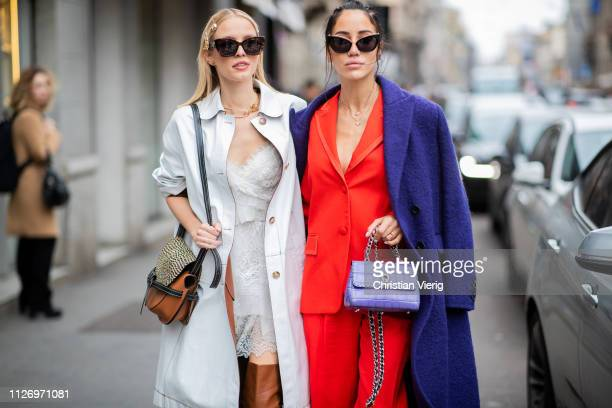 Leonie Hanne and Tamara Kalinic attends the Ermanno Scervino show at Milan Fashion Week Autumn/Winter 2019/20 on February 23 2019 in Milan Italy