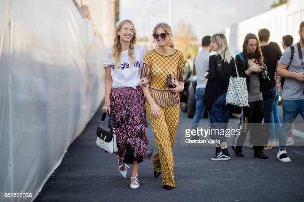 Leonie Hanne and Xenia van der Woodsen is seen outside Missoni during Milan Fashion Week Spring/Summer 2018 on September 23 2017 in Milan Italy