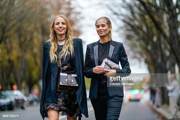 Leonie Hanne and Xenia Van Der Woodsen outside John Galliano during Paris Fashion Week Womenswear Spring/Summer 2018 on October 1 2017 in Paris France