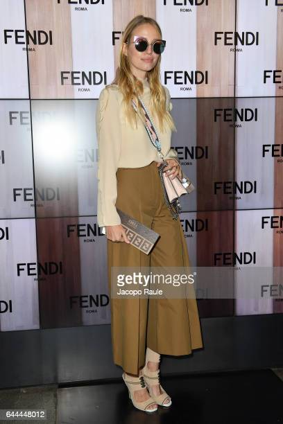 Leonie Hanne attends the Fendi show during Milan Fashion Week Fall/Winter 2017/18 on February 23 2017 in Milan Italy