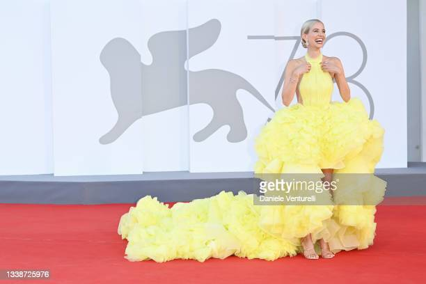 """Leonie Hanne attends the red carpet of the movie """"La Caja"""" during the 78th Venice International Film Festival on September 06, 2021 in Venice, Italy."""