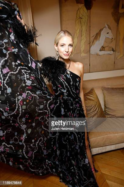 Leonie Hanne attends the Schiaparelli Cocktail to celebrate Daniel Roseberry first Haute Couture Collection as part of Paris Fashion Week on July 01...