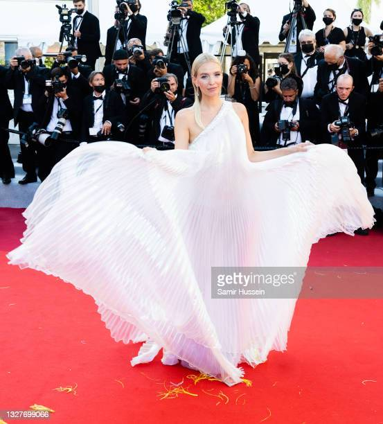 """Leonie Hanne attends the """"Stillwater"""" screening during the 74th annual Cannes Film Festival on July 08, 2021 in Cannes, France."""