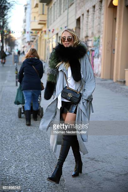 Leonie Hanne during the MercedesBenz Fashion Week Berlin A/W 2017 at Kaufhaus Jandorf on January 17 2017 in Berlin Germany