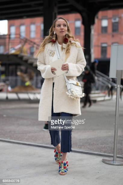 Leonie Hanne is seen attending Tory Burch during New York Fashion Week wearing Tory Burch on February 14 2017 in New York City