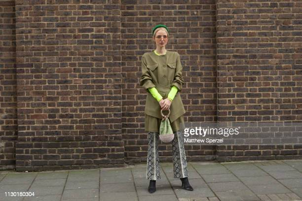 Leonie Hanne is seen on the street during London Fashion Week February 2019 wearing TOGA on February 16 2019 in London England