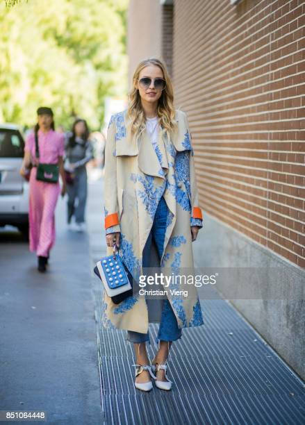 Leonie Hanne is seen outside Fendi during Milan Fashion Week Spring/Summer 2018 on September 21 2017 in Milan Italy