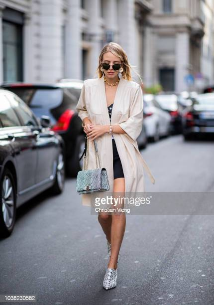 Leonie Hanne is seen outside Salvatore Ferragamo during Milan Fashion Week Spring/Summer 2019 on September 22 2018 in Milan Italy