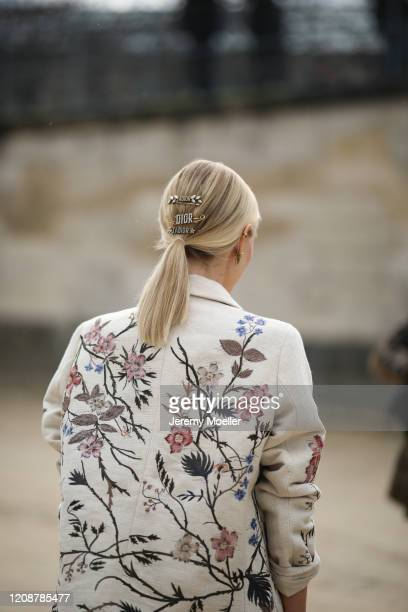 Leonie Hanne is seen wearing a complete Dior look outside Dior during Paris Fashion Week - Womenswear Fall/Winter 2020/2021 : Day Two on February 25,...