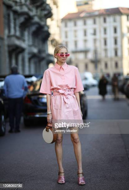 Leonie Hanne is seen wearing a Gucci sunglasses and hair clip and a rosa hair clip before Salvatore Ferragamo during Milan Fashion Week Fall/Winter...