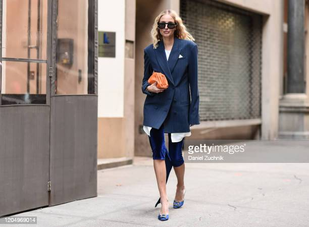 Leonie Hanne is seen wearing a Hellessy outfit outside the Hellessy show during New York Fashion Week A/W20 on February 08 2020 in New York City