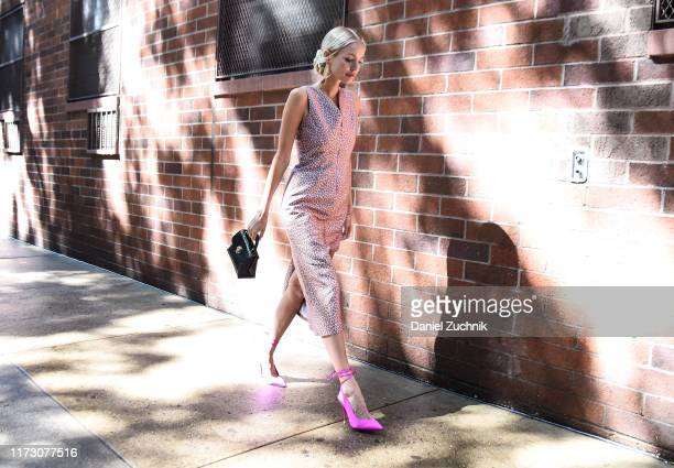 Leonie Hanne is seen wearing a Kate Spade dress outside the Kate Spade show during New York Fashion Week S/S20 on September 07 2019 in New York City