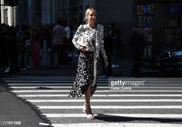 Leonie Hanne is seen wearing a Self Portrait outfit outside the Self Portrait show during New York Fashion Week S/S20 on September 07 2019 in New...