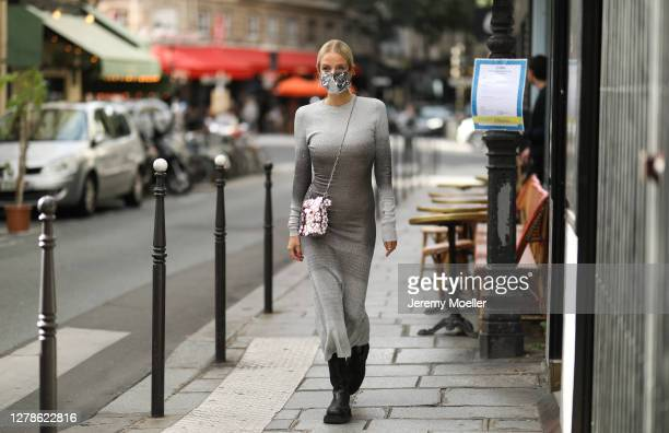 Leonie Hanne is seen wearing a total Paco Rabanne look and Bottega Veneta boots outside Paco Rabanne during Paris Fashion Week - Womenswear Spring...