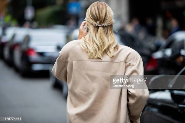 Leonie Hanne is seen wearing Chanel hair clip outside the Max Mara show during Milan Fashion Week Spring/Summer 2020 on September 19 2019 in Milan...