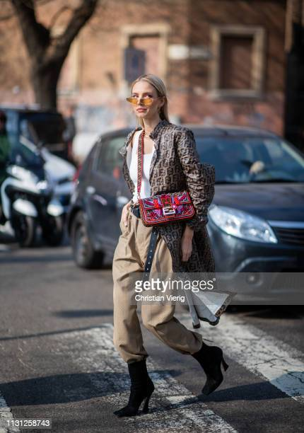 Leonie Hanne is seen wearing coat bag beige pants outside Fendi on Day 2 Milan Fashion Week Autumn/Winter 2019/20 on February 21 2019 in Milan Italy