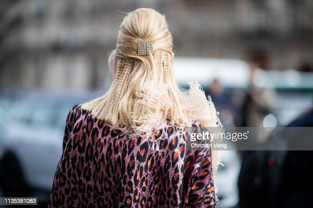 Leonie Hanne is seen wearing hair clip outside Miu Miu during Paris Fashion Week Womenswear Fall/Winter 2019/2020 on March 05 2019 in Paris France