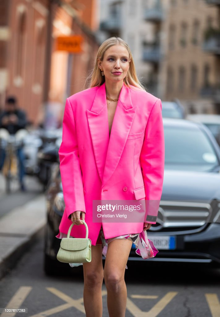 Leonie Hanne is seen wearing oversized pink Vetements blazer, dress,... News Photo - Getty Images