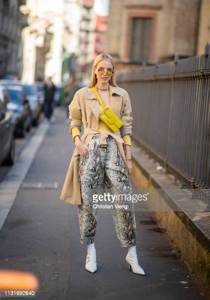 Leonie Hanne is seen wearing pants with snake print outside Etro on Day 3 Milan Fashion Week Autumn/Winter 2019/20 on February 22 2019 in Milan Italy