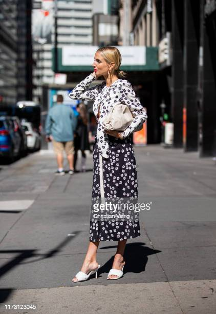 Leonie Hanne is seen wearing two tone dress outside SelfPortrait during New York Fashion Week September 2019 on September 07 2019 in New York City
