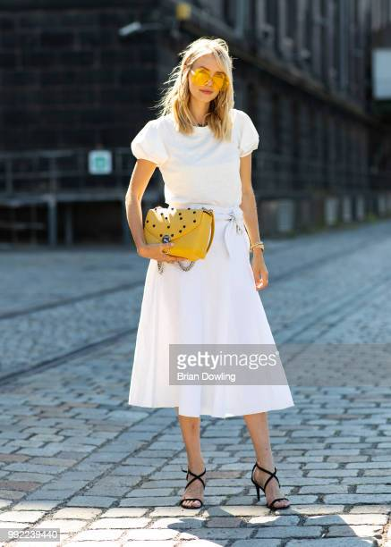 Leonie Hanne poses during the Marc Cain Street Style shooting at WECC on July 3 2018 in Berlin Germany
