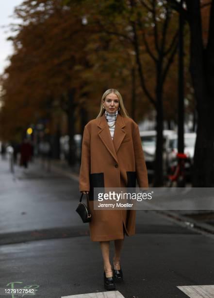 Leonie Hanne seen wearing a full Stella McCartney look during Paris Fashion Week - Womenswear Spring Summer 2021 : Day Nine on October 06, 2020 in...