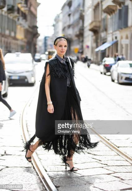 Leonie Hanne seen wearing black Prada look during the Milan Women's Fashion Week on September 26, 2020 in Milan, Italy.