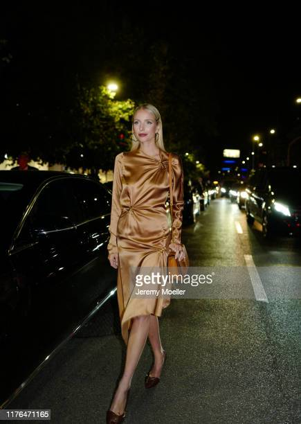 Leonie Hanne wearing a complete Versace outfit and poses outside the Versace show during Milan Fashion Week Spring/Summer 2020 on September 20, 2019...