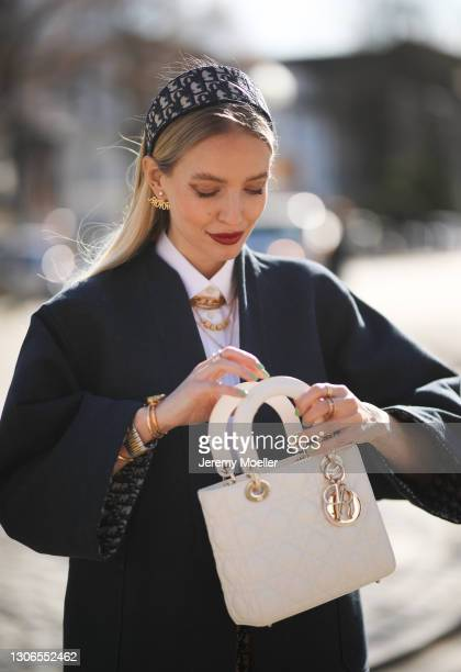 Leonie Hanne wearing a full Dior look on March 08, 2021 in Hamburg, Germany.