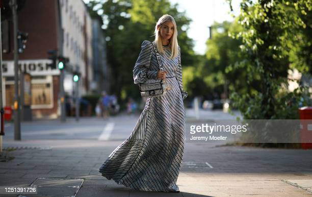 Leonie Hanne wearing a full Fendi California Sky collection look on June 21, 2020 in Hamburg, Germany.