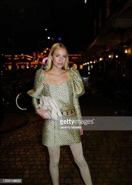 Leonie Hanne wearing a Rotate dress Bottega Veneta bag and heels and Gucci tights before Rotate on January 30 2020 in Copenhagen Denmark