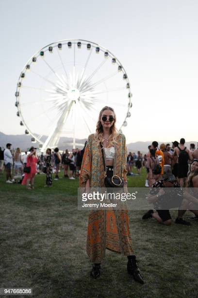 Leonie Hanne wearing Chloe boots and bag, Spell & the Gypsy dress during day 1 of the 2018 Coachella Valley Music & Arts Festival Weekend 1 on April...