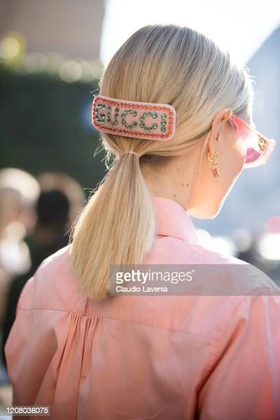 Leonie Hanne, wearing Gucci hair clip, is seen outside Salvatore Ferragamo show, during Milan Fashion Week Fall/Winter 2020-2021 on February 22, 2020...