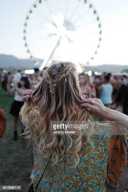 Leonie Hanne wearing Spell the Gypsy dress during day 1 of the 2018 Coachella Valley Music Arts Festival Weekend 1 on April 13 2018 in Indio...
