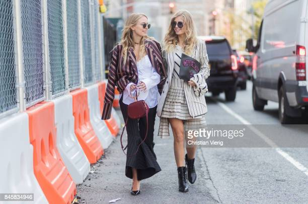 Leonie Hanne wearing stripped jacket flared pants Chloe bag Dior sling backs and Xenia van der Woodsen seen in the streets of Manhattan outside...