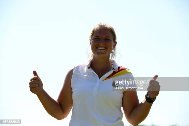 Leonie Harm of Germany after winning the final on day five of The Ladies' British Open Amateur Championship at Hillside Golf Club on June 30 2018 in...